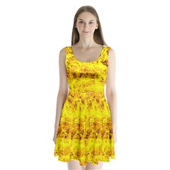 Yellow Abstract Background Split Back Mini Dress