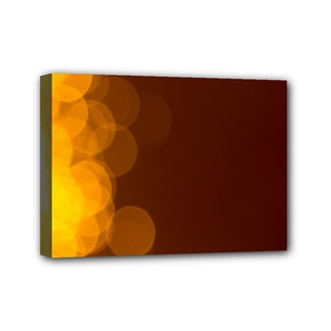 Yellow And Orange Blurred Lights Orange Gerberas Yellow Bokeh Background Mini Canvas 7  X 5  by Amaryn4rt