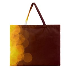 Yellow And Orange Blurred Lights Orange Gerberas Yellow Bokeh Background Zipper Large Tote Bag by Amaryn4rt