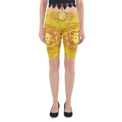 Yellow Seamless Psychedelic Pattern Yoga Cropped Leggings