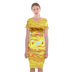 Yellow Seamless Psychedelic Pattern Classic Short Sleeve Midi Dress by Amaryn4rt