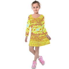 Yellow Seamless Psychedelic Pattern Kids  Long Sleeve Velvet Dress by Amaryn4rt