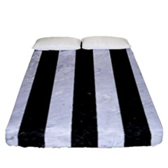 Stripes1 Black Marble & White Marble Fitted Sheet (queen Size) by trendistuff