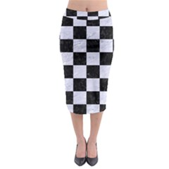 Square1 Black Marble & White Marble Midi Pencil Skirt by trendistuff