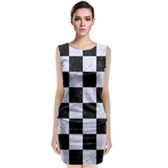 Square1 Black Marble & White Marble Sleeveless Velvet Midi Dress