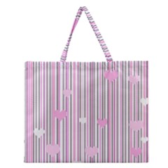Pink Love Zipper Large Tote Bag by Valentinaart