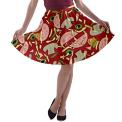 Pizza Pattern A Line Skater Skirt by Valentinaart