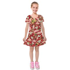 Pizza Pattern Kids  Short Sleeve Velvet Dress by Valentinaart