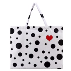 Dots And Hart Zipper Large Tote Bag by Valentinaart