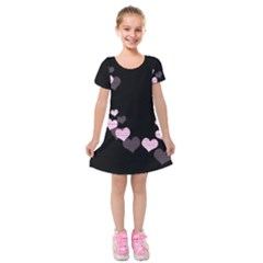 Pink Harts Design Kids  Short Sleeve Velvet Dress