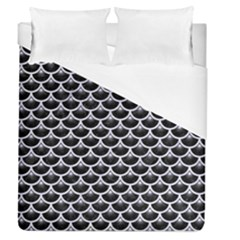 Scales3 Black Marble & White Marble Duvet Cover (queen Size)