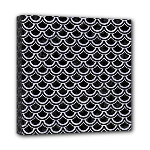 Scales2 Black Marble & White Marble Mini Canvas 8  X 8  (stretched) by trendistuff