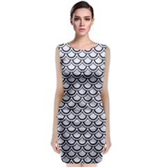Scales2 Black Marble & White Marble (r) Sleeveless Velvet Midi Dress