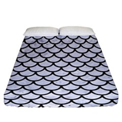 Scales1 Black Marble & White Marble (r) Fitted Sheet (california King Size) by trendistuff