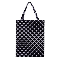 Scales1 Black Marble & White Marble Classic Tote Bag by trendistuff