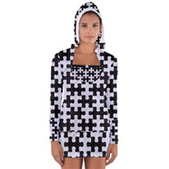 Puzzle1 Black Marble & White Marble Long Sleeve Hooded T Shirt