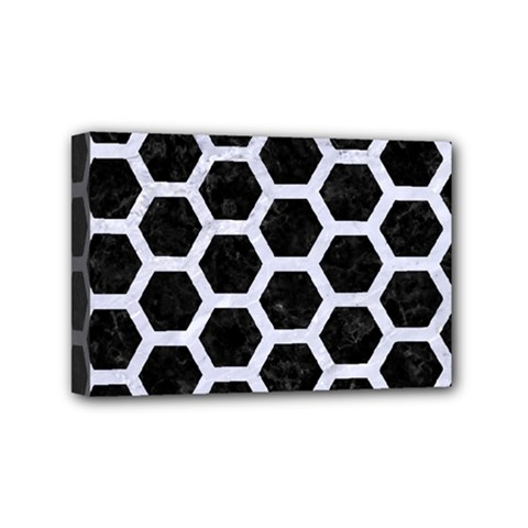 Hexagon2 Black Marble & White Marble Mini Canvas 6  X 4  (stretched) by trendistuff