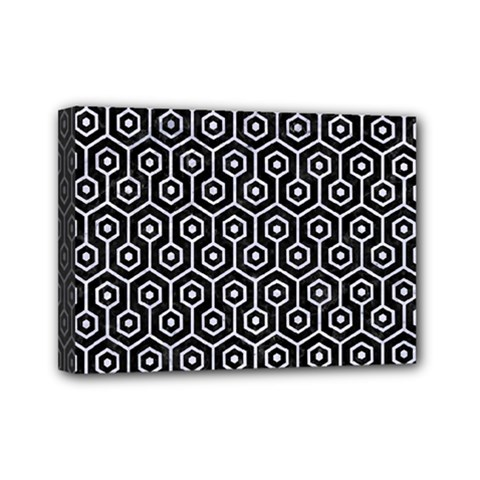 Hexagon1 Black Marble & White Marble Mini Canvas 7  X 5  (stretched) by trendistuff