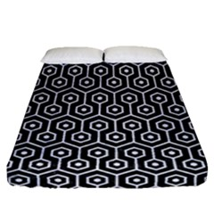Hexagon1 Black Marble & White Marble Fitted Sheet (queen Size) by trendistuff