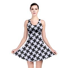 Houndstooth2 Black Marble & White Marble Reversible Skater Dress by trendistuff