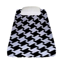 Houndstooth2 Black Marble & White Marble Fitted Sheet (single Size) by trendistuff