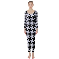 Houndstooth1 Black Marble & White Marble Long Sleeve Catsuit by trendistuff