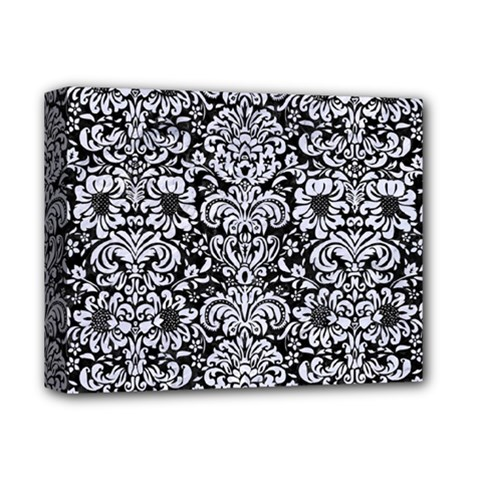 Damask2 Black Marble & White Marble Deluxe Canvas 14  X 11  (stretched) by trendistuff