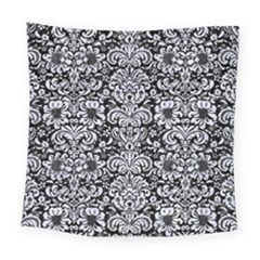 Damask2 Black Marble & White Marble Square Tapestry (large)