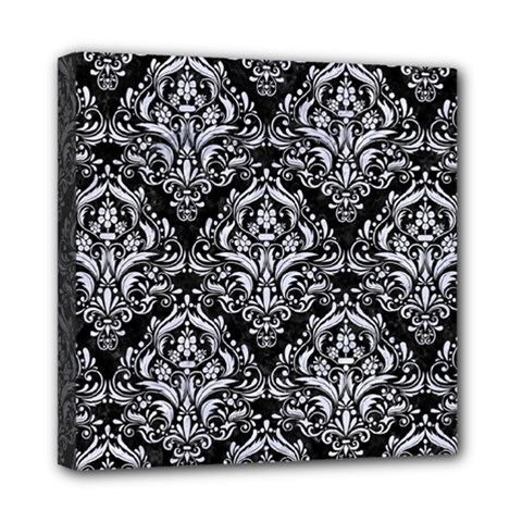 Damask1 Black Marble & White Marble Mini Canvas 8  X 8  (stretched)