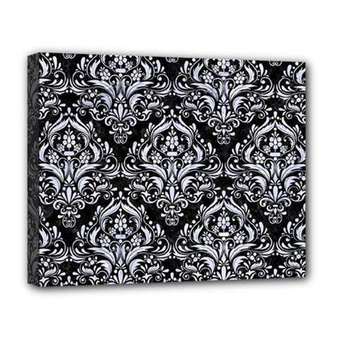 Damask1 Black Marble & White Marble Deluxe Canvas 20  X 16  (stretched) by trendistuff