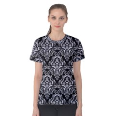 Damask1 Black Marble & White Marble Women s Cotton Tee by trendistuff