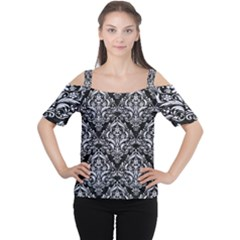 Damask1 Black Marble & White Marble Cutout Shoulder Tee by trendistuff