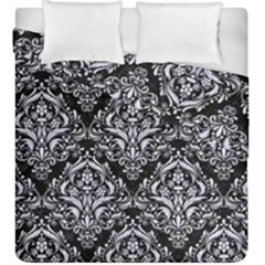 Damask1 Black Marble & White Marble Duvet Cover Double Side (king Size) by trendistuff