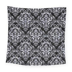 Damask1 Black Marble & White Marble Square Tapestry (large)