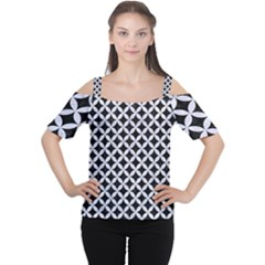 Circles3 Black Marble & White Marble Cutout Shoulder Tee by trendistuff