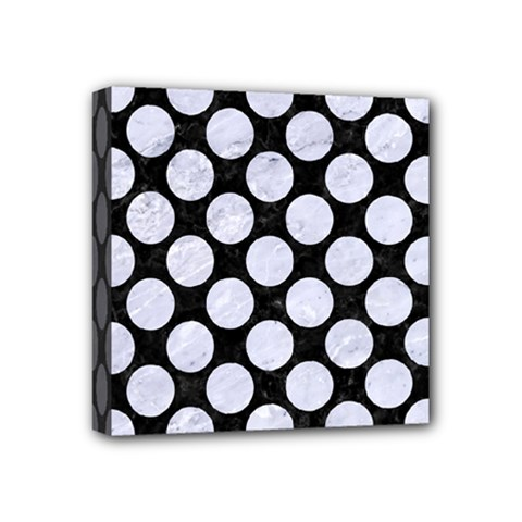 Circles2 Black Marble & White Marble Mini Canvas 4  X 4  (stretched) by trendistuff