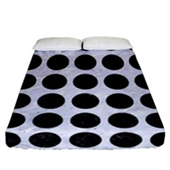 Circles1 Black Marble & White Marble (r) Fitted Sheet (queen Size) by trendistuff