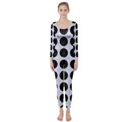 Circles1 Black Marble & White Marble (r) Long Sleeve Catsuit by trendistuff