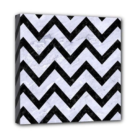 Chevron9 Black Marble & White Marble (r) Mini Canvas 8  X 8  (stretched)