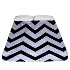 Chevron9 Black Marble & White Marble (r) Fitted Sheet (california King Size) by trendistuff