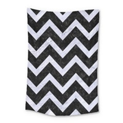 Chevron9 Black Marble & White Marble Small Tapestry by trendistuff