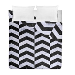 Chevron2 Black Marble & White Marble Duvet Cover Double Side (full/ Double Size) by trendistuff