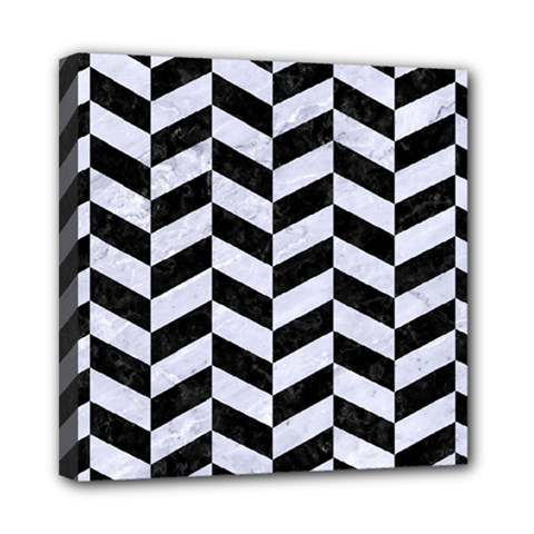 Chevron1 Black Marble & White Marble Mini Canvas 8  X 8  (stretched)