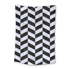Chevron1 Black Marble & White Marble Small Tapestry