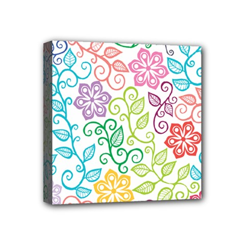 Texture Flowers Floral Seamless Mini Canvas 4  X 4  by Jojostore
