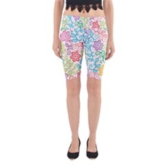 Texture Flowers Floral Seamless Yoga Cropped Leggings