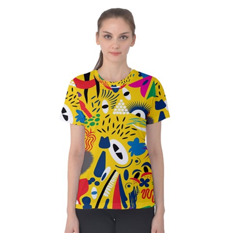 Yellow Eye Animals Cat Women s Cotton Tee by AnjaniArt