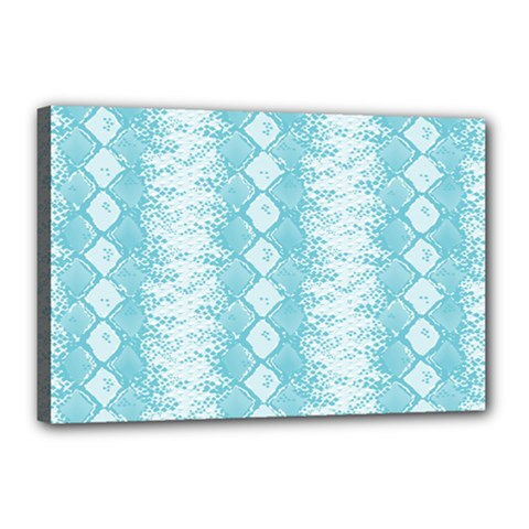 Snake Skin Blue Chevron Wave Canvas 18  X 12