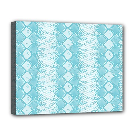 Snake Skin Blue Chevron Wave Deluxe Canvas 20  X 16   by AnjaniArt