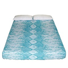 Snake Skin Blue Chevron Wave Fitted Sheet (queen Size) by AnjaniArt